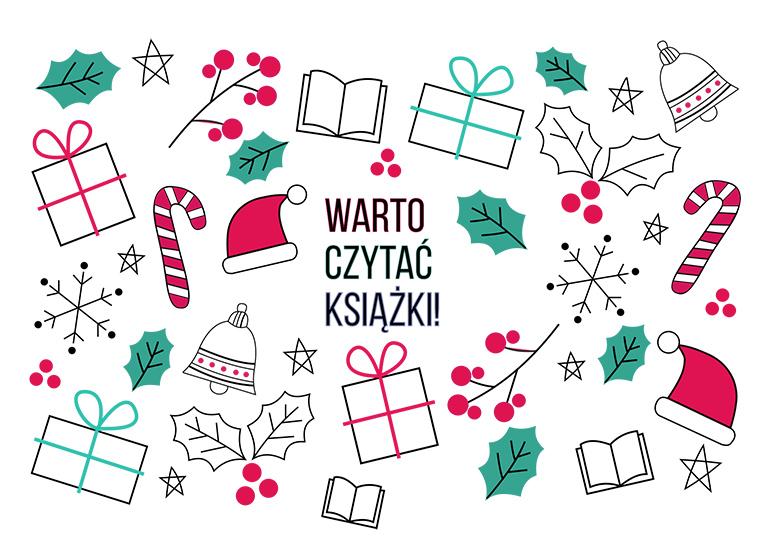 Czytanie jest trendy - zadanie Grudniowe - kartka świąteczna